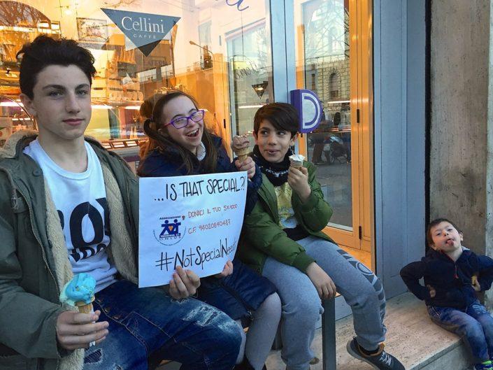 Mangiare un buon gelato non è un bisogno speciale,#NotSpecialNeeds ma semplicemente un bisogno umano, uguale per tutti, come ci dicono Samuele Irene Elia e Mattia...